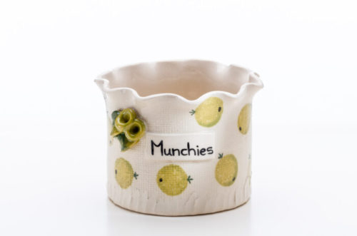 Ceramic container used to hold all those delicious munchies!