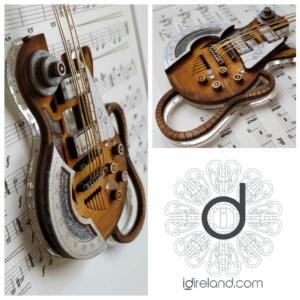 Mixed media artwork of Dieselpunk styled guitar, inspired by the movie Mad Max