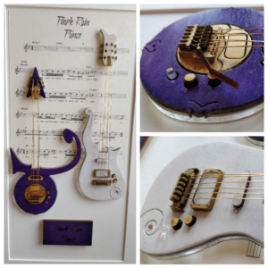 """Mixed media artwork of Prince song """"Purple Rain"""" featuring his Cloud and Symbol guitars"""