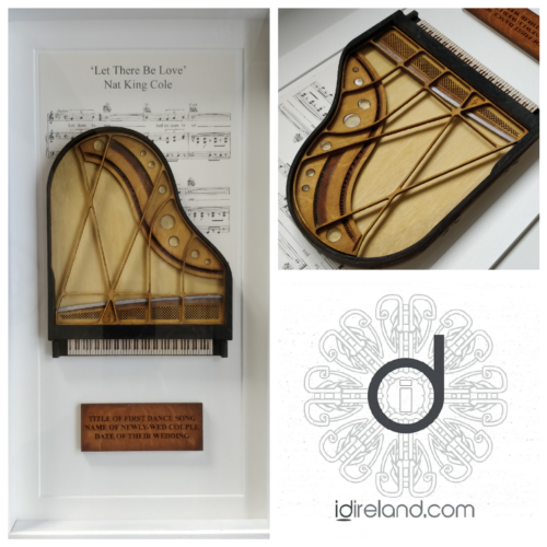 Mixed media artwork of piano and music, inspired by Nat King Cole