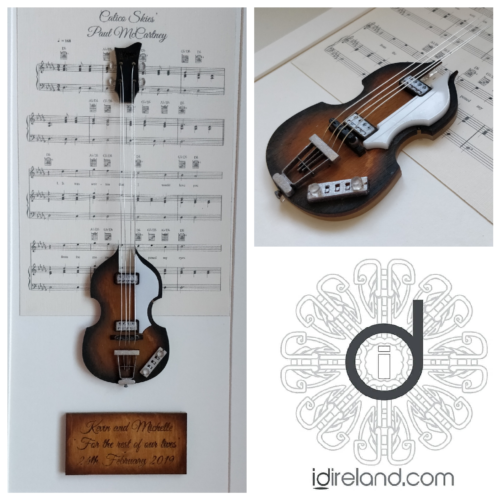 Mixed media music artwork of In My Life by the Beatles, featuring Hofner violin base guitar played by Paul McCartney