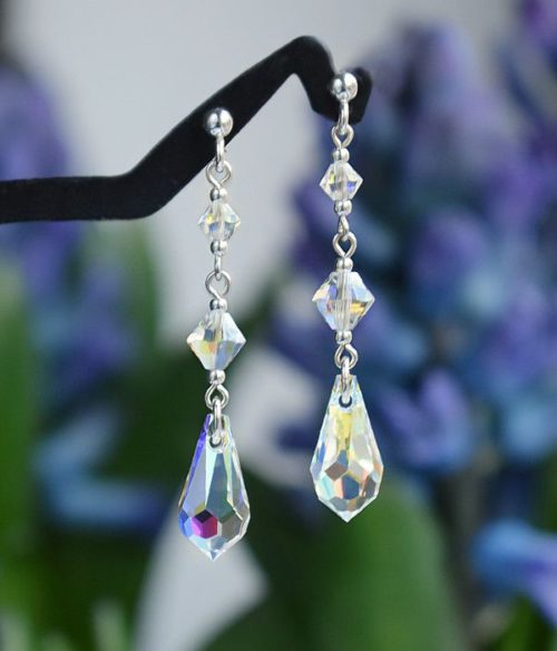 CLASSIC Graceful Swarovski Aurora Borealis Crystal Earrings