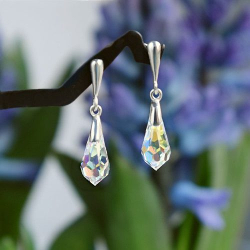 CLASSIC Graceful Swarovski Aurora Borealis Crystal Earrings 3 cm - Touch of Venus Jewellery