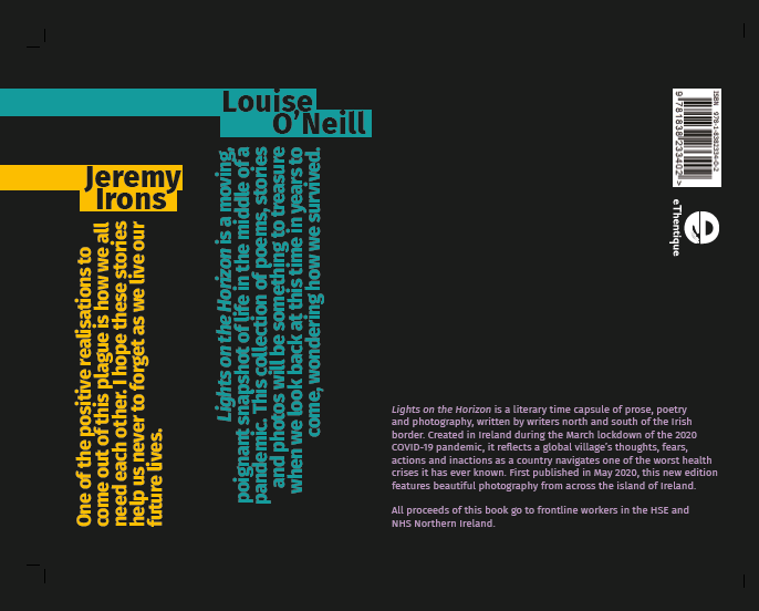 Back cover of our charity book, 'Lights on the Horizon'