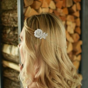 GRACEFUL Embellished Wedding Appliqué Swarovski Crystals/Pearls Hair Comb Drape - Touch of Venus Jewellery