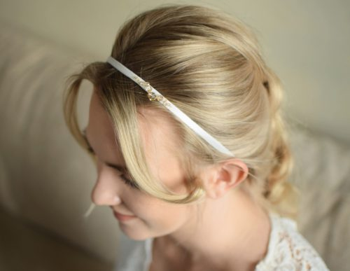 JASMINE Ecru Satin & Golden Shadow Crystal Wedding Headband - Touch of Venus Jewellery
