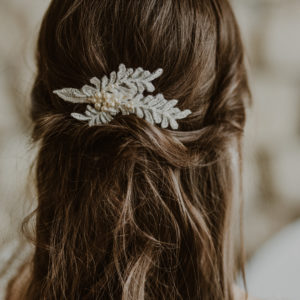 JASMINETTE Pearl Vintage Embellished Ivory Appliqué Wedding Hair Comb Style - Touch of Venus Jewellery