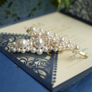 DESTINY Set of Two Wedding Swarovski White Pearl Hair-pin Appliqués Big & Medium -Touch of Venus Jewellery