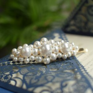 DESTINY Big Wedding Swarovski White Pearl Big Hair-pin Appliqué-Touch of Venus Jewellery