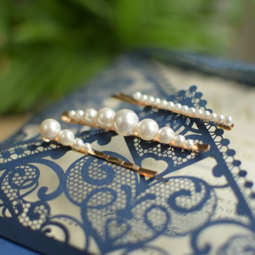 JOLIE Set of Three Wedding Swarovski White Pearl Hair-pins - Touch of Venus Jewellery