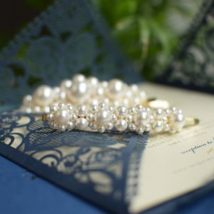 DESTINY Set of Two Wedding Swarovski White Pearl Hair-pin Appliqués Medium -Touch of Venus Jewellery