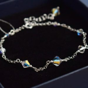 CLASSIC Graceful Swarovski Aurora Borealis Crystal Bracelet- Touch of Venus Jewellery