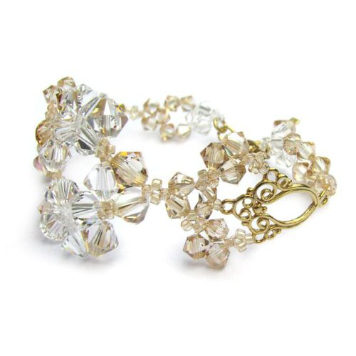 LACEY Gold-plated 24ct Vintage Golden Shadow & Clear Swarovski Crystal Bracelet - Touch of Venus Jewellery