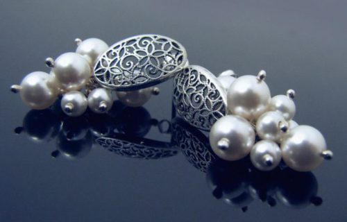 LILY Vintage Style Swarovski White Pearl Silver Earrings - Touch of Venus Jewellery