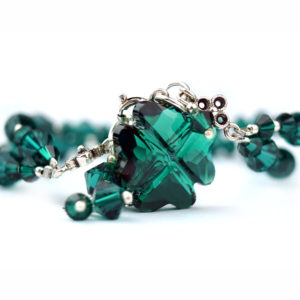 LUCKY Emerald Swarovski Crystal Bracelet - Touch of Venus Jewellery