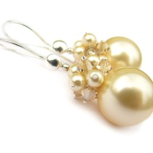 PHOEBE Light Gold Swarovski Pearl and Golden Shadow Crystal Earrings - Touch of Venus Jewellery