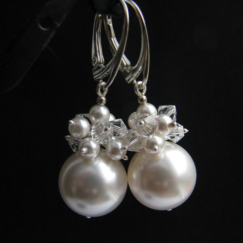 PHOEBE White Swarovski Pearl and Crystal Earrings - Touch of Venus Jewellery