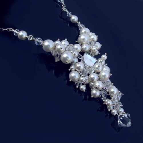 RITTA White Pearl and Crystal Clear Swarovski Necklace - Touch of Venus Jewellery