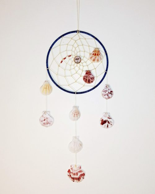 Seashell dreamcatcher in blue and beige