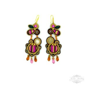 Pink Stripes Modern Earrings