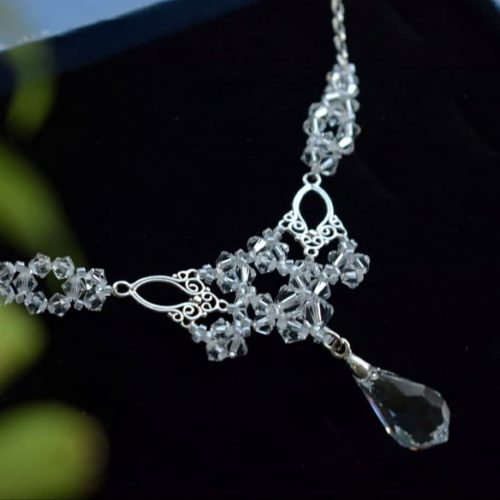 LACEY Vintage Style Filigree Swarovski Crystal Necklace - Touch of Venus Jewellery