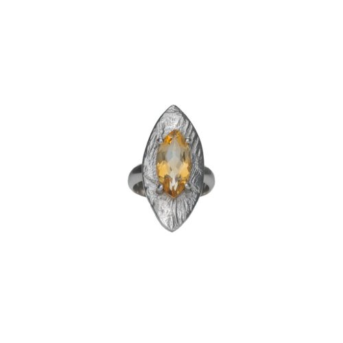 Citrine textured ring ethically handrafted in sterling silver, Irish jewellery by Caraliza Designs