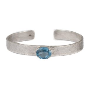 Treasure Me Blue Topaz cuff bracelet ethically handrafted in sterling silver, Irish jewellery by Caraliza Designs