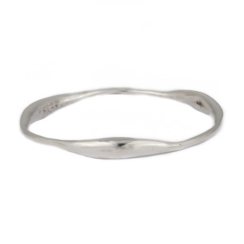 Curvy Bangle ethically handcrafted in sterling silver, Irish jewellery by Caraliza Designs