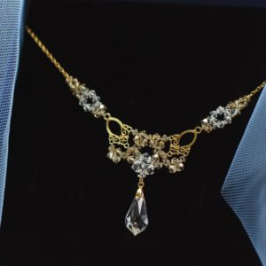 LACEY Gold-plated 24ct Vintage Golden Shadow & Clear Swarovski Crystal Necklace- Touch of Venus Jewellery