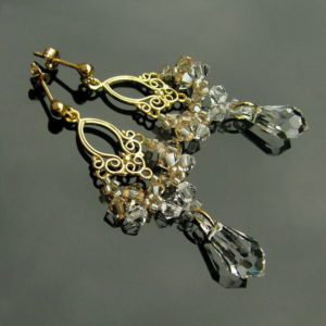 LACEY Gold-plated 24ct Vintage Golden Shadow & Clear Swarovski Crystal Earrings - Touch of Venus Jewellery
